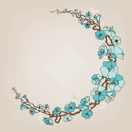 flores vintage: Round small blue flowers decoration or frame