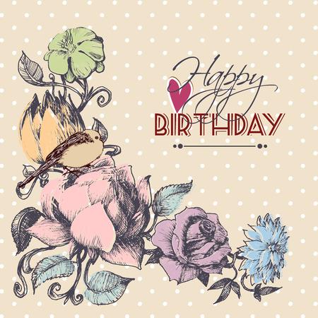 floral corner: Happy birthday card, floral corner ornament