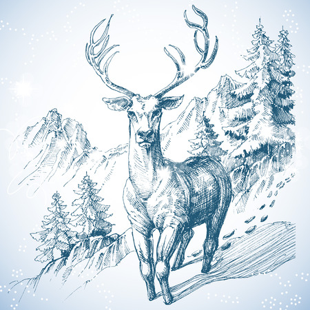 Mountain pine tree forest and deer sketch Ilustracja