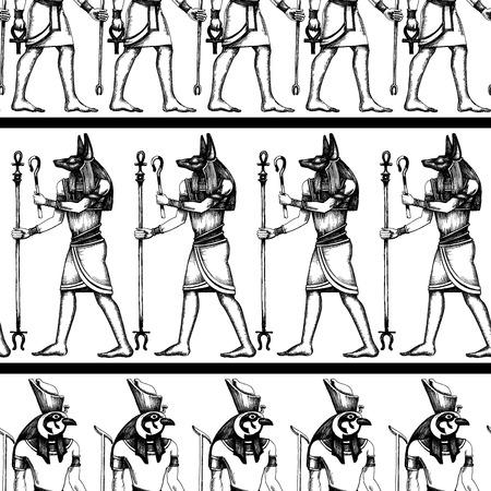 Egyptian hieroglyphics graphic seamless pattern