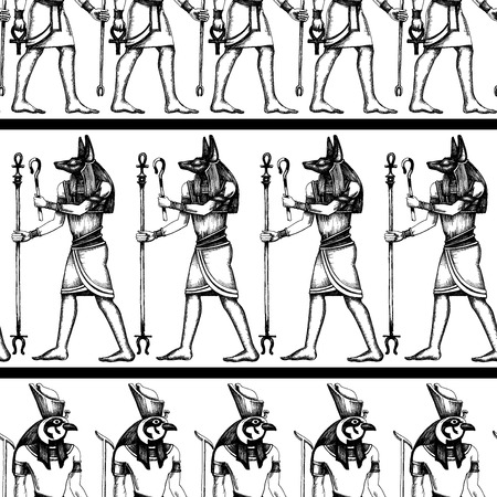 Egyptische hiërogliefen grafische naadloze patroon Stockfoto - 40672831