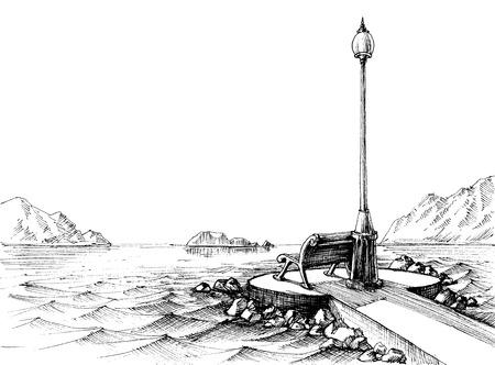 Een bankje bij de zee, zeegezicht schets