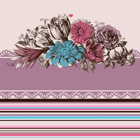 Retro wedding flower bouquets, floral garden design elements Vector