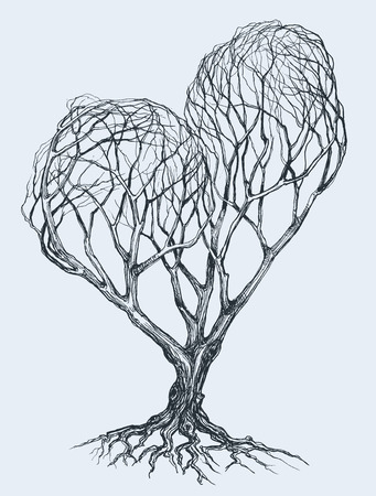 arbol con raices: Esbozo gráfico del árbol en forma de corazón Vectores