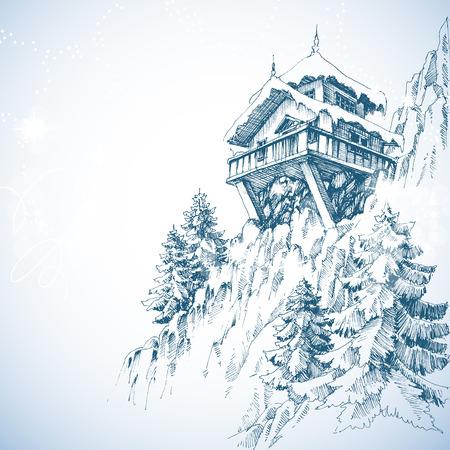 Mountain hut, pine tree forest, winter landscape