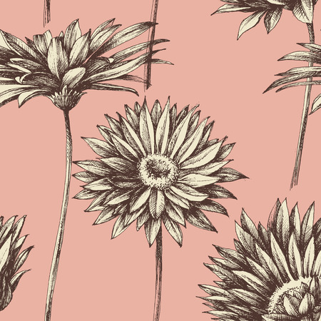 etching pattern: Retro floral seamless pattern