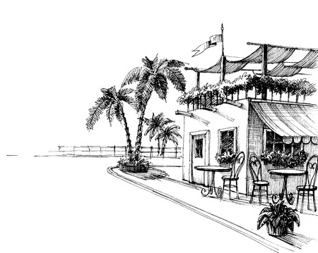 Traditional restaurant by the sea shore sketch Stock Illustratie