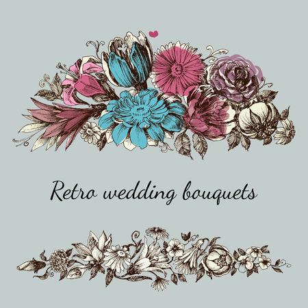 tuinontwerp: Retro bruiloft bloem boeketten, bloemen tuin design elementen Stock Illustratie
