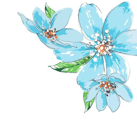 corner ornament: Blue flowers background watercolor corner ornament Illustration