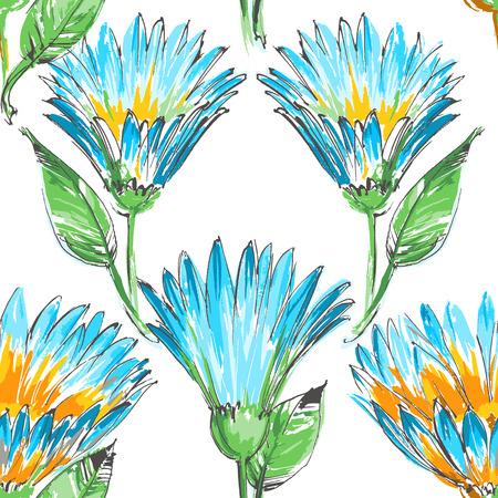 flores: Retro floral seamless pattern