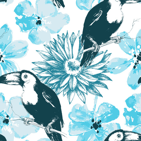 soulful: Birds and blue watercolor flowers seamless pattern