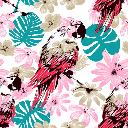 macaw parrot: Exotic summer seamless pattern, flowers leaves and parrots