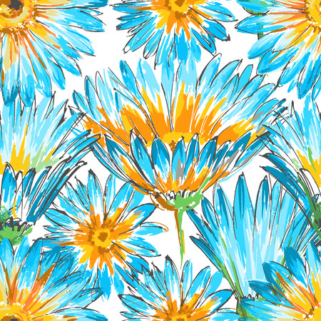daisies: Retro floral seamless pattern