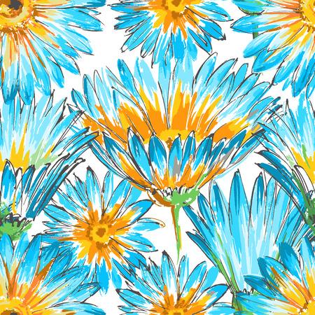 fondo de pantalla: Retro floral sin patrón Vectores