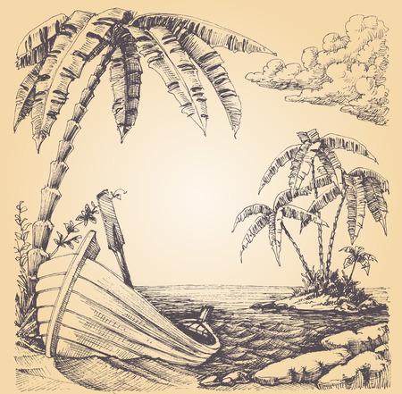 boceto: Barco en la orilla del mar, isla tropical y palmeras