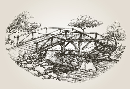 river bank: Bridge over river sketch Illustration
