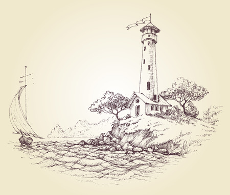 Lighthouse vector drawing, seascape and sailboat at sea, travel background