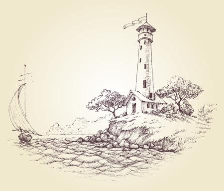 bateau: Phare de dessin vectoriel, paysage marin et de voilier en mer, fond voyager