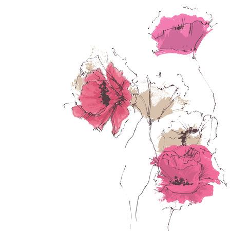 floral corner: Floral corner decoration, poppies Illustration