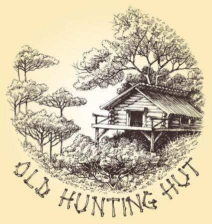 lodge: Old hunting hut in the woods round decoration vector Illustration