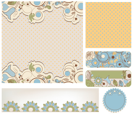 retro backgrounds: Retro wedding backgrounds floral and dots patterns Illustration