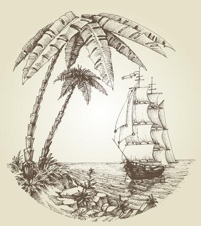 Sailing boat on sea and tropical island destination Illustration