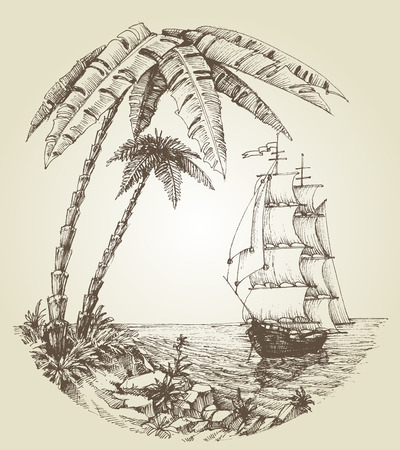 Sailing boat on sea and tropical island destination Stock Illustratie