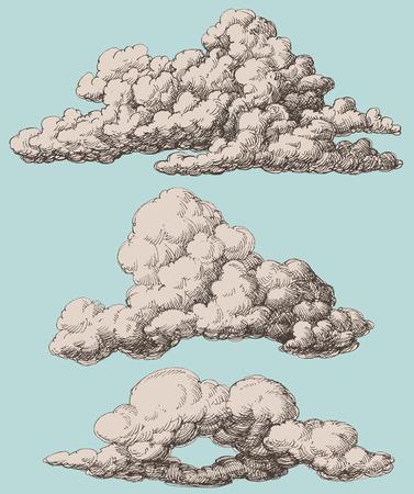 nubes caricatura: Conjunto de vectores nubes de estilo vintage detallado
