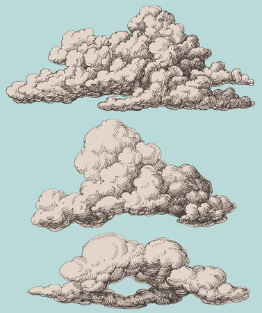 Detailed vintage style clouds vector set Vector