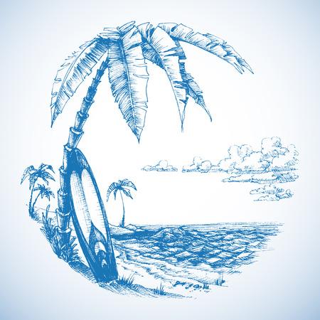 palmier: Surfer fond, de palmiers et vue sur la mer Illustration