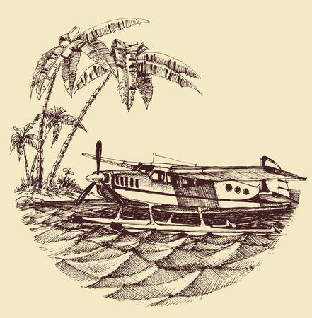 hydroplane: Hydroplane on sea vector illustration