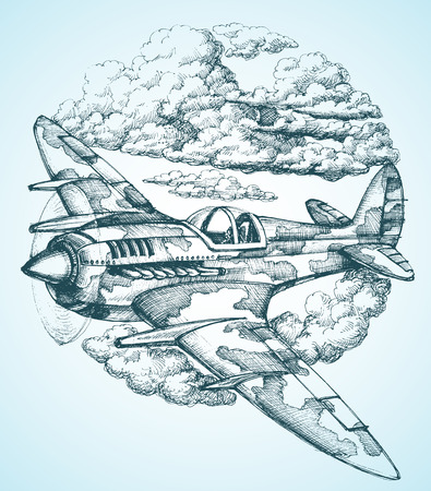old plane: Plane in the sky round icon Illustration