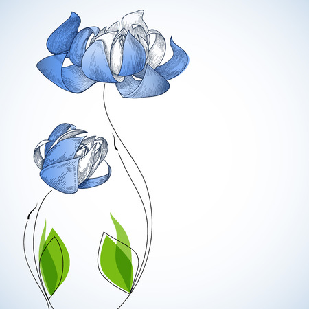 gently blue: Floral background