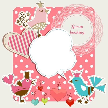 scrap: Scrap booking set, funny birds, frames hearts, speech bubbles