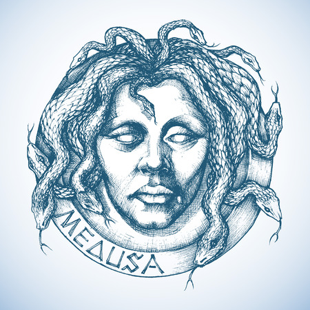 snake head: Mythological Medusa portrait with snakes in place of hair sketch