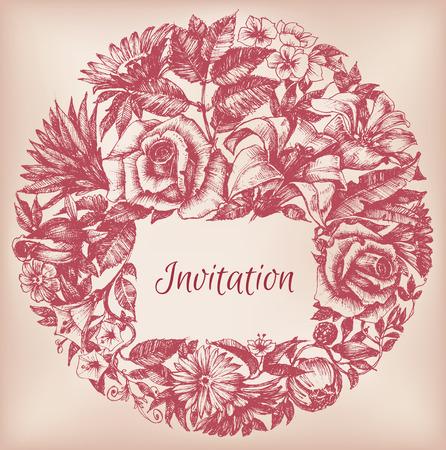 for text: Decorazione floreale rotondo, cornice di testo Vettoriali