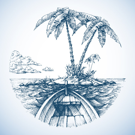 vessel: Tropical island in the ocean with palm trees, view from a boat