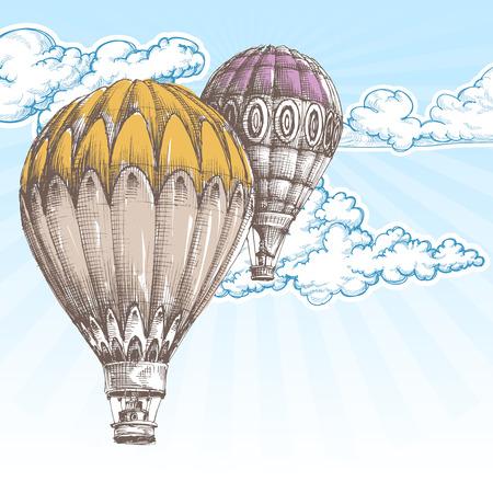 Globos de aire caliente en el cielo azul de fondo retro