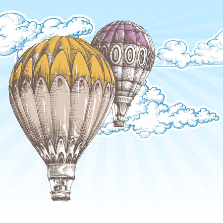 air travel: Hot air balloons in the blue sky retro background