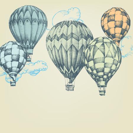 vintage travel: Ballons à air chaud dans le fond de ciel Illustration