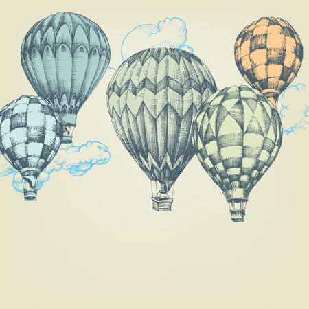 hot air: Hot air balloons in the sky background