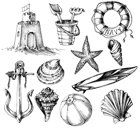Summer collection, marine life and beach toys drawings