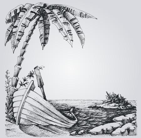 sea shore: Tropical island sketch, sea shore, palm trees and boat summer design
