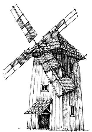 古い風車  イラスト・ベクター素材