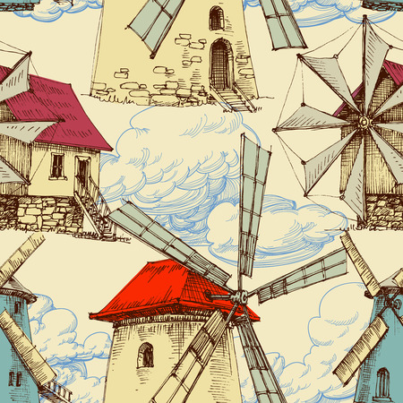 wind mill: Wind mill pattern, sky and clouds background