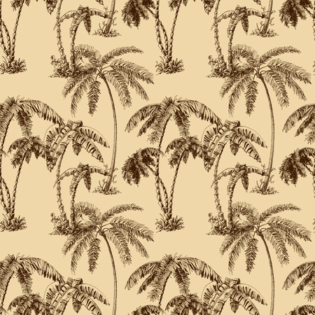 hawaiian: Palm trees seamless pattern
