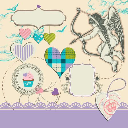 fancy design: Fancy wedding design elements, hearts, cupid, frames for text