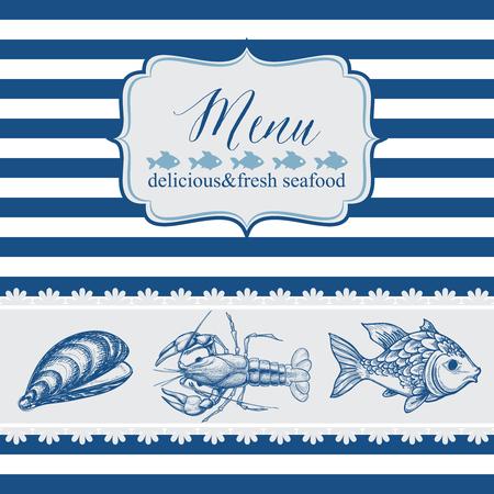 cockle: Seafood menu template Illustration