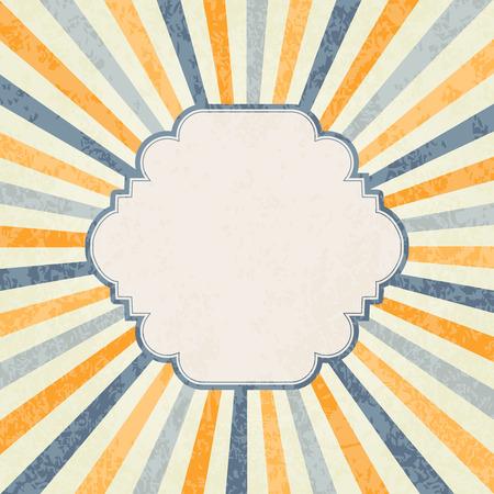 Retro rays background, frame for text Illustration