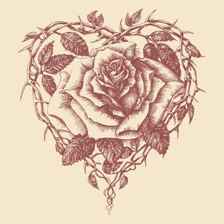 linework: Heart rose vector illustration